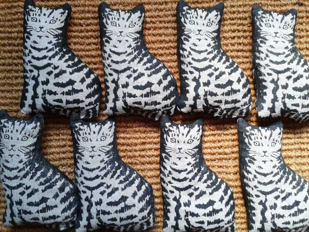 'Lavender Tabby Kittens' screen-printed linen by Elizabeth Harbour