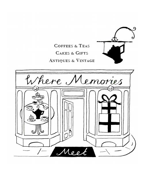 logo for cafe and antiques shop where memories meet