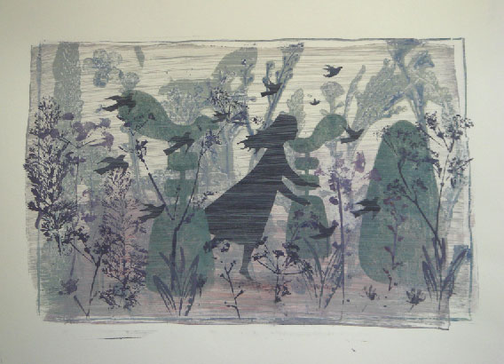 A mono-print by Elizabeth Harbour 'Autumn No:5'