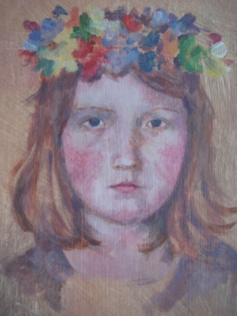 'Girl with Fllower Headdress' by Elizabeth Harbour - a quick portrait demo for 'Art for Enjoyment'