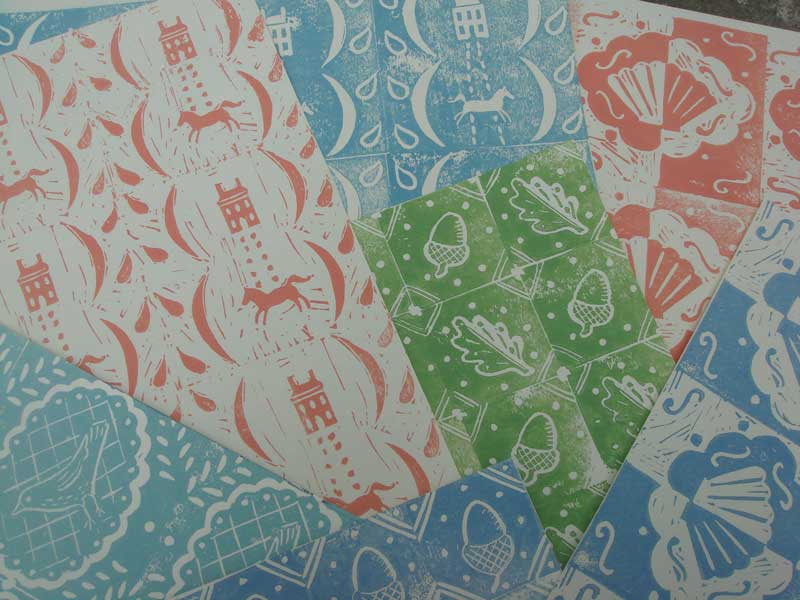 Elizabeth Harbour block printed papers