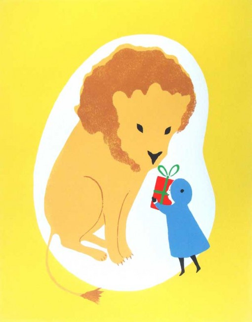 Screen-print 'A Present for Mr Lion' by Elizabeth Harbour