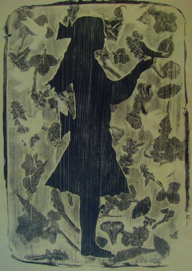 A monoprint by Elizabeth Harbour 'Edwardian Girl No.2'