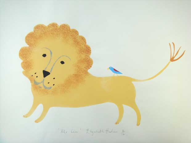 A limited edition hand stencilled print 'Mr Lion' by Elizabeth Harbour