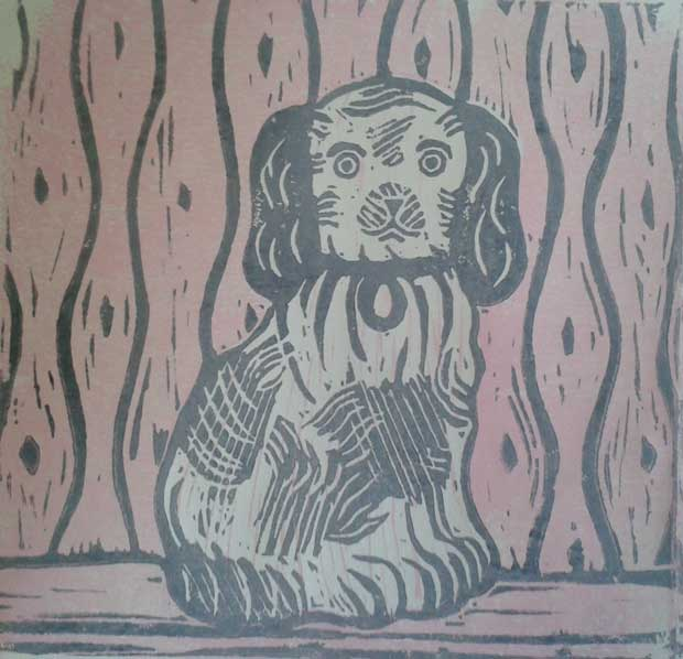 Lino cut by Elizabeth Harbour 'Staffordshire Spaniel'