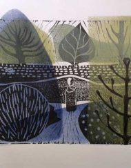 A lino and stencil print by Elizabeth Harbour 'The Winter Garden'