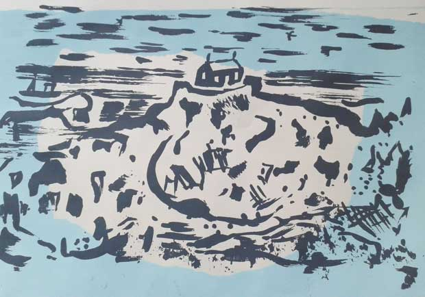 A limited edition screen-print by Elizabeth Harbour 'St Nicholas Chapel St Ives'