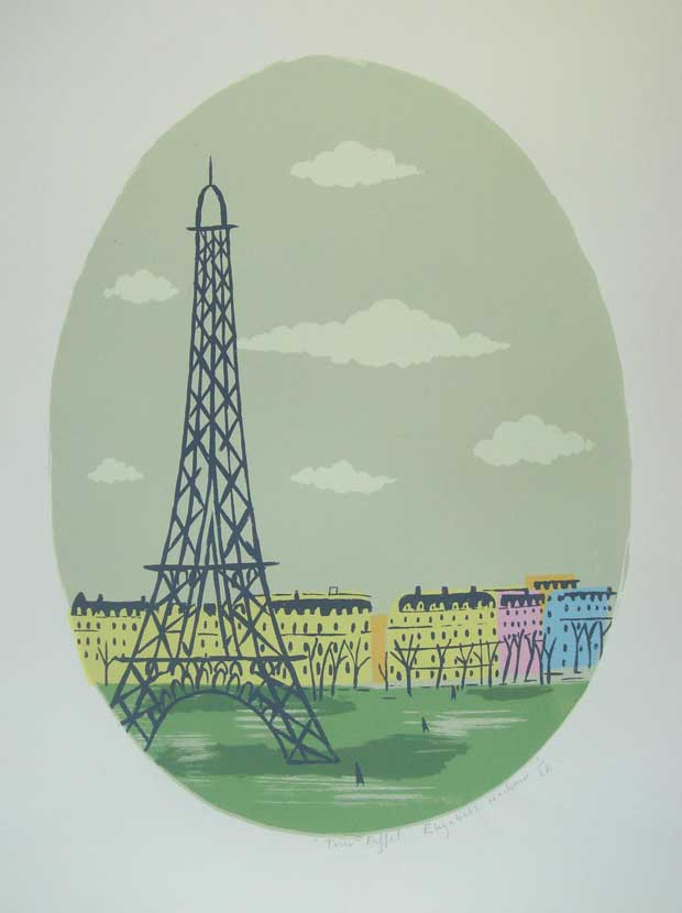 A limited edition screen -print 'Tour Eiffel' by Elizabeth Harbour