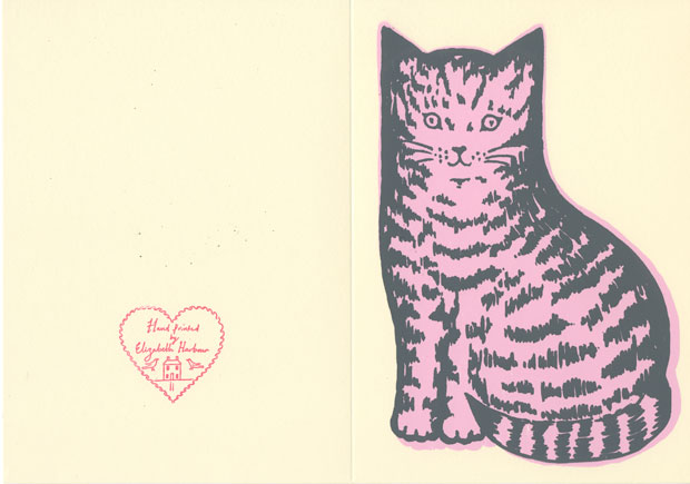 Handprinted Tabby Kitten Cards by Elizabeth Harbour