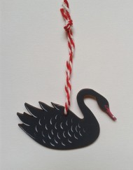 Wooden 'Black Swan' decoration, designed and hand-painted by Elizabeth Harbour