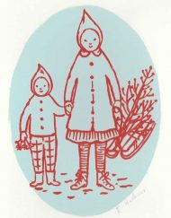 An original two colour hand screen-printed card 'Christmas tree' by Elizabeth Harbour