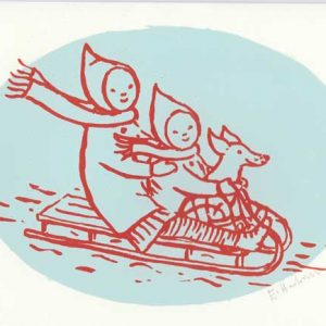Two colour original screen-print Christmas card 'Sledging' by Elizabeth Harbour