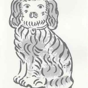 An original two colour hand screen-printed card 'Staffordshire dog' by Elizabeth Harbour