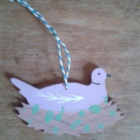 Wooden decoration, 'Collard Dove' (Pink), designed and hand-painted by Elizabeth Harbour