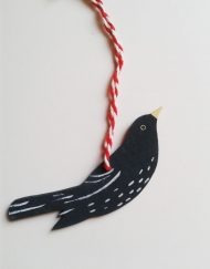 'Blackbird' wooden decoration, designed and hand-painted by Elizabeth Harbour