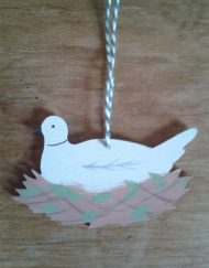 Wooden decoration, 'Collard Dove (white) ' designed and hand-painted by Elizabeth Harbour