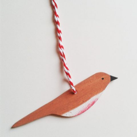 'Robin' wooden decoration, designed and hand-painted by Elizabeth Harbour