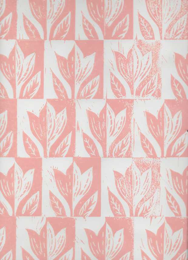 Hand-printed Tulip paper by Elizabeth Harbour
