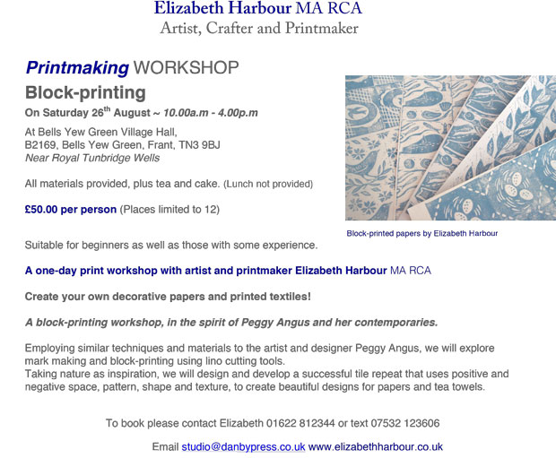 Printmaking workshop - Block-printing with Elizabeth Harbour