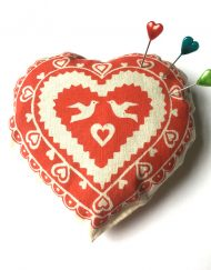 Handmade screen-printed love heart pin cushion