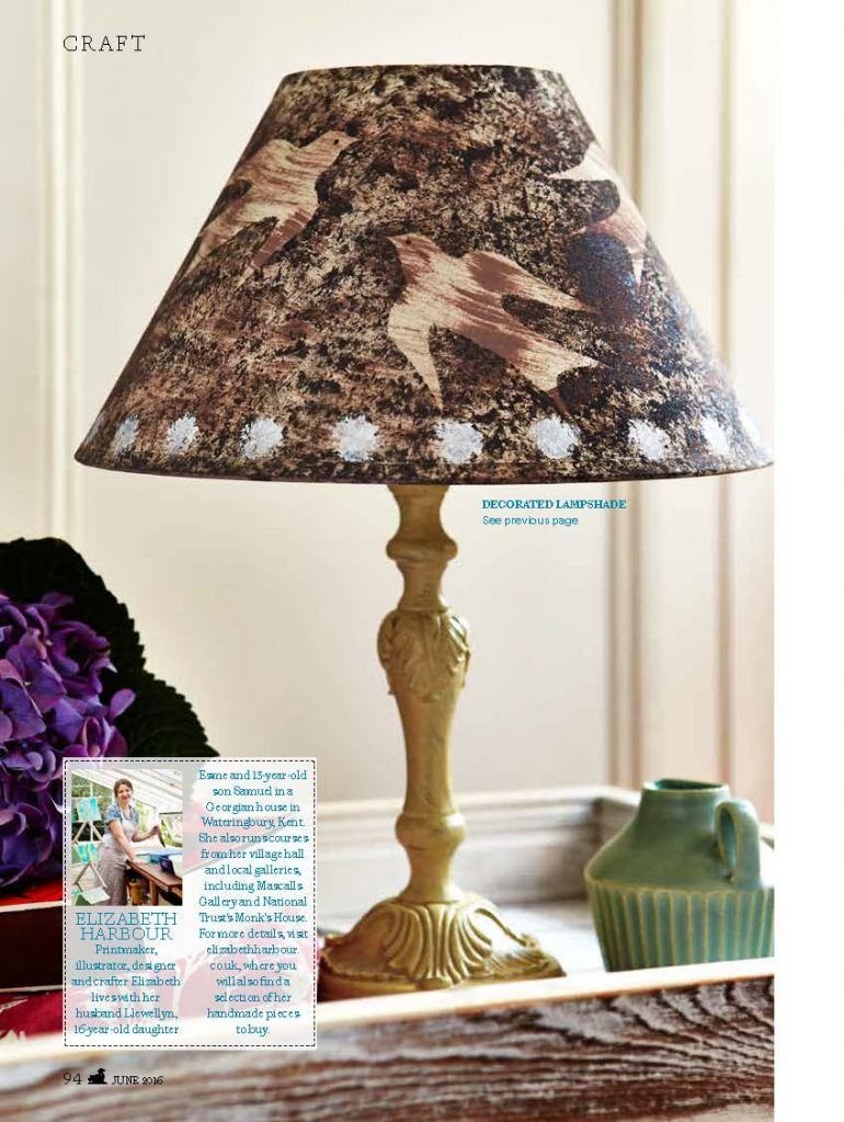 Elizabeth Harbour for Country Living Magazine Flying Bird Lampshade