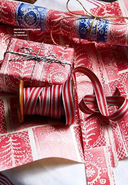 Elizabeth Harbour for Country Living Magazine printed Christmas gift-wrap