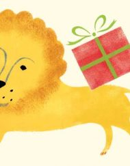 'Lion with gift' greeting card from an original Stencil Print by Elizabeth Harbour