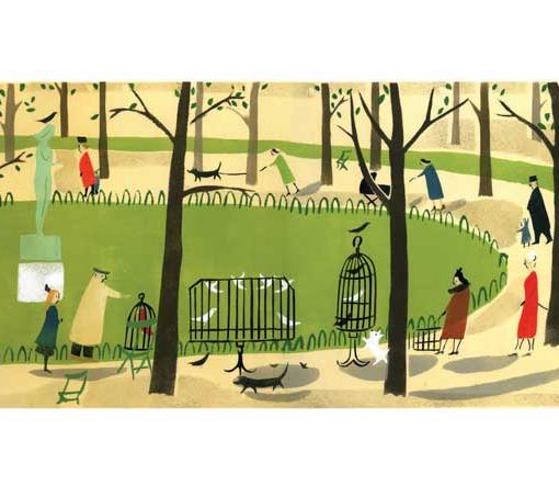 'Tuileries Gardens' greeting card from an original Stencil Print by Elizabeth Harbour
