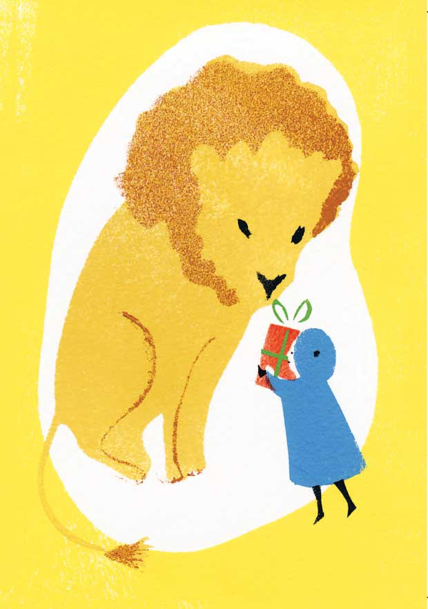 'For Mr Lion' greeting card from an original stencil print by Elizabeth Harbour