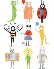 'Fancy Dress' Greeting card from an original Stencil Print by Elizabeth Harbour