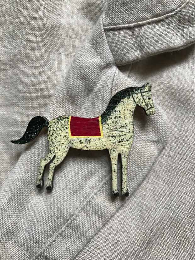Dapple horse brooch