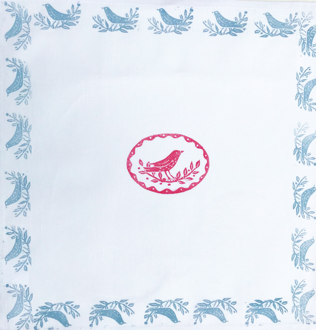 Design and hand-print your own table napkins print workshop,