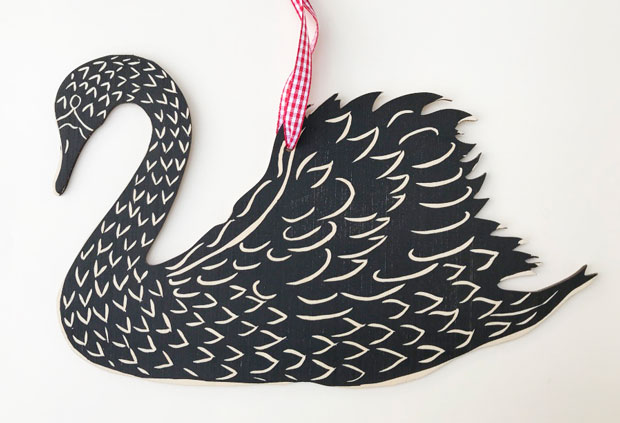 Hand-printed Swan wooden wall decoration (facing left)