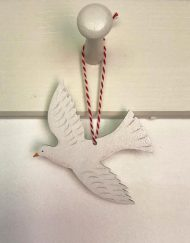 Swooping Dove wooden hanging decoration