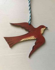 Flying thrush wooden decoration