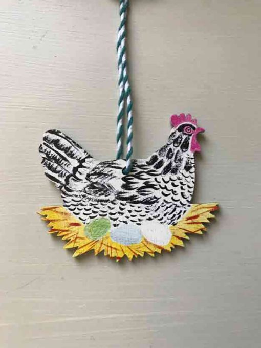 Hen wooden decoration