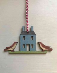 House with birds wooden decoration