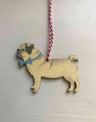 Pug dog wooden decoration
