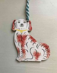 Staffordshire spaniel wooden decoration