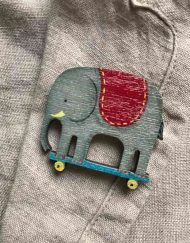 Elephant wooden pin brooch by Elizabeth Harbour