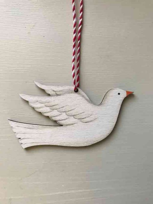 Flying dove wooden decoration