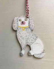 Staffordshire poodle wooden decoration