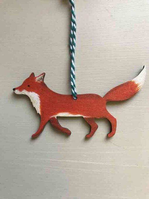 Walking Fox Wooden Decoration