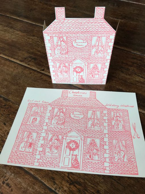 An original print hand screen-printed Christmas house greetings card