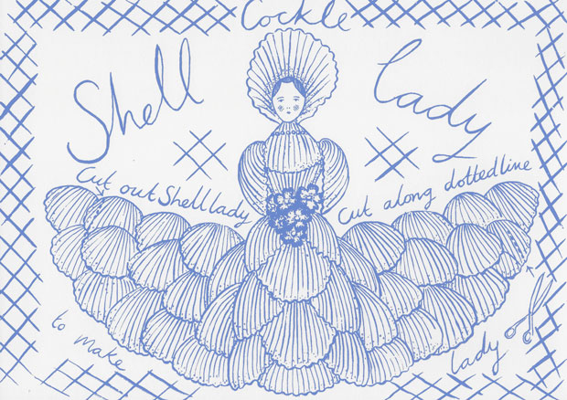 An original print hand Screen-printed Cockle Shell Lady greetings card