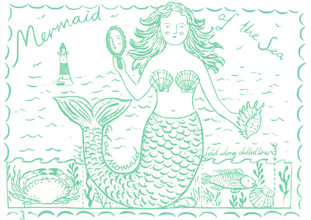 Original print 'Mermaid of the Sea' greetings card by Elizabeth Harbour,