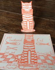 Original print 'Mackerel Cat' greetings card by Elizabeth Harbour