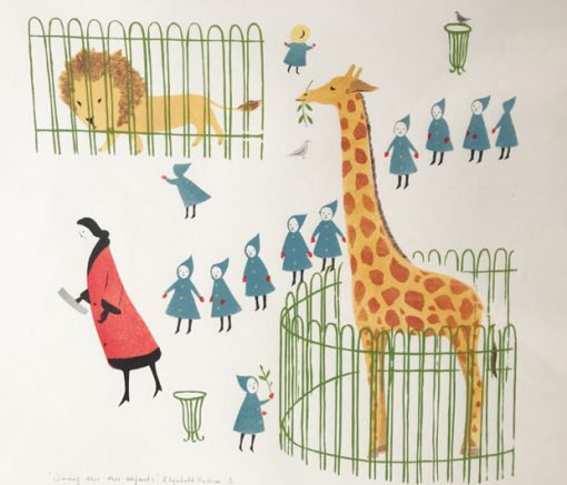 'Suivez Moi Mes Enfants' original Pochoir and screen-print by Elizabeth Harbour