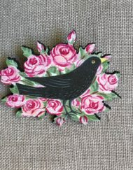 Blackbird in Roses brooch by Elizabeth Harbour