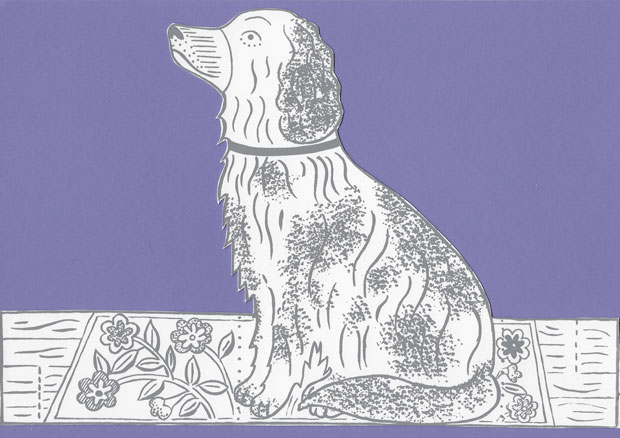 Original print 'Fireside Dog' greetings card by Elizabeth Harbour